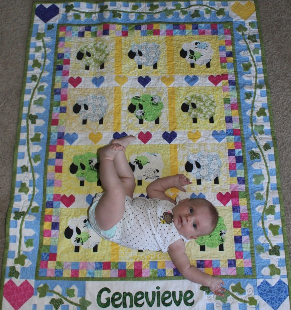 Genevieve and her quilt 2